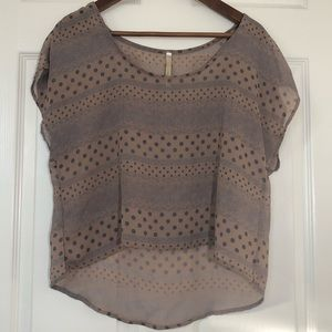 Tops - Polka Dot and Lace Print Blouse Size Med